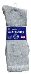 48 of Yacht & Smith Men's King Size Loose Fit NoN-Binding Cotton Diabetic Crew Socks Gray Size 13-16