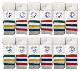 60 of Yacht & Smith 31 Inch Men's Cotton Tube Socks, Referee Style, Size 10-13 White With Stripes