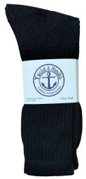 48 of Yacht & Smith Men's King Size Cotton Terry Cushioned Crew Socks Black Size 13-16 Bulk Pack