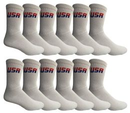 240 of Yacht & Smith Men's Usa White Crew Socks Size 10-13