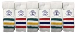 48 of Yacht & Smith Women's Cotton Striped Tube Socks, Referee Style Size 9-11 Bulk Pack 28Inch