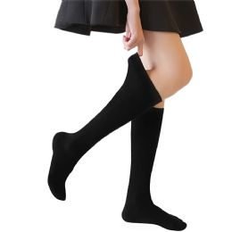 48 of Yacht & Smith 90% Cotton Girls Black Knee High, Sock Size 6-8