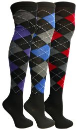 48 of Yacht & Smith Womens Over The Knee Referee Thigh High Boot Socks Argyle Print