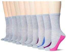 120 of Fruit Of The Loom Crew Sock For Woman Shoe Size 4-10 Gray
