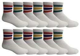 120 of Yacht & Smith Men's Cotton Sport Ankle Socks With Terry Size 10-13 Solid White With Stripes