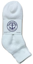 48 of Yacht & Smith Kids Cotton Quarter Ankle Socks In White Size 6-8 Bulk Pack