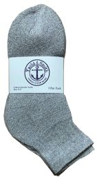 48 of Yacht & Smith Kids Cotton Quarter Ankle Socks In Gray Size 6-8 Bulk Pack