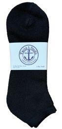 48 of Yacht & Smith Men's King Size Cotton No Show Ankle Socks Size 13-16 Black Bulk Pack