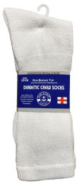 48 of Yacht & Smith Men's King Size Loose Fit NoN-Binding Cotton Diabetic Crew Socks White Size 13-16