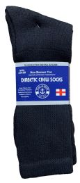 72 of Yacht & Smith Men's King Size Loose Fit Non-Binding Cotton Diabetic Crew Socks Black Size 13-16