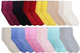 96 of Yacht & Smith Women's Solid Color Gripper Fuzzy Socks Assorted Colors, Size 9-11