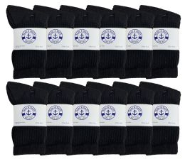 48 of Yacht & Smith Kids Cotton Terry Cushioned Crew Socks Black Size 6-8 Bulk Pack