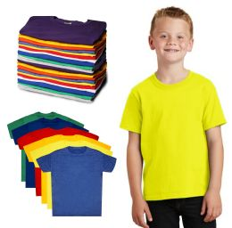 288 of Kids Unisex Cotton Crew Neck T-Shirts, Assorted Sizes And Colors, Ages 4-12