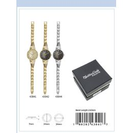 12 of 34mm Montres Carlo Ip Plated Japan Movt. Watch - 43042-Asst