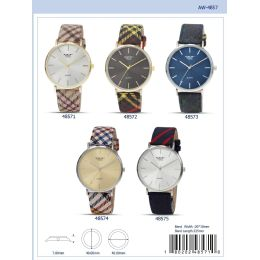 12 of 40mm Milano Expressions Tartan Vegan Leather Band Watch - 48574-Asst