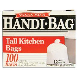 6 of Handi Bag Trash Bags 100 Count 13 Gallon White