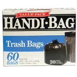 6 of Handi Bag Trash Bag 60 Count 30 Gallon