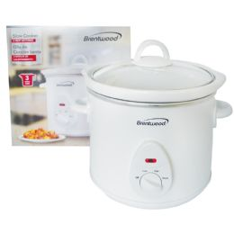 2 of Brentwood Slow Cooker 3 Quarts 3 Settings White