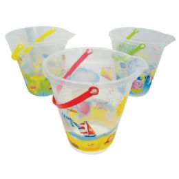 48 of Beach Pail 9 Inch Assorted Printed Ocean Designs