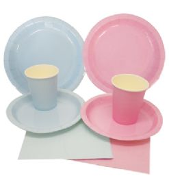 72 of Party Solution Party Set Everyday Pink And Blue Includes 18 EacH- 8 Ct 9 Inch Plate/ 8 Ct 7 Inch Plate/8 Ct 9 Oz Cups/ 20 Ct Napkins