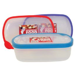 48 of Food Container 56 Oz Rectangular With Assorted Colored Rubber Rim Lids