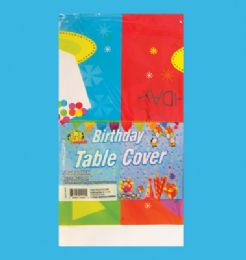 48 of PLASTIC TABLE COVER 54 X 108 INCH BIRTHDAY