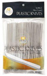 24 of Crown Dinnerware Plastic Cutlery 36 Ct Knife Silver Coated
