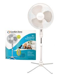 Comfort Zone Pedistal Fan 16 Inch 3 Speed Oscillating Adjustable Height 41-47 Inch Etl Approved