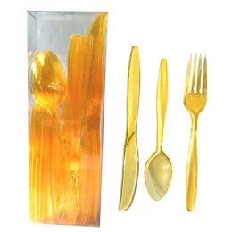30 of Plastic Cutlery Combo 24 Count Heavy Duty Yellow