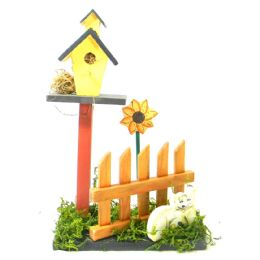 30 of Decorative Wooden Bird House On Picket Fence And Grass Deco Hand Painted Asst. Animals 10 In Tall