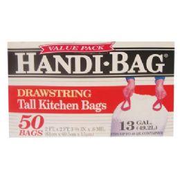 6 of Handi Bag Drawstring Tall Kitchen Bag 50 Count 13 Gallon