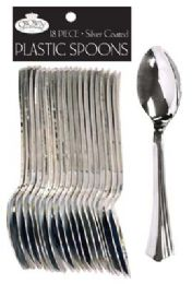 36 of Crown Dinnerware Plastic Cutlery 18 Count Spoon Silver Coated
