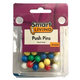 36 of Push Pins Round Head 50ct Assorted Colors