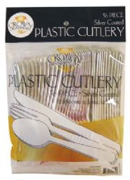 24 of Crown Dinnerware Plastic Cutlery 36 Ct Combo Silver Coated