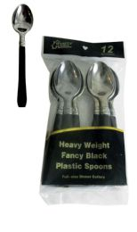 48 of Silver Coated Plastic Spoon With Black Handle 12 Count