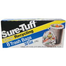 24 of SurE-Tuff Trash Bags 30 Gallon 8 Count Flap Tie Clear Recycling