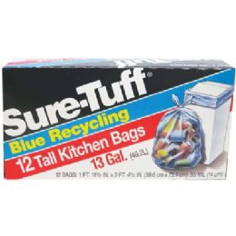 24 of SurE-Tuff Tall Kitchen Bags 12 Count 13 Gallon Blue Recycling