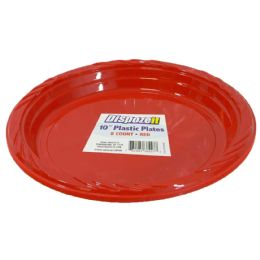 36 of Plastic Plate 8 Ct 10 Red