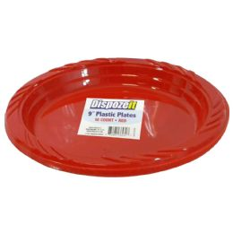 36 of Plastic Plate 10 Ct 9 Red