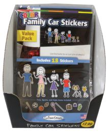 36 of Family Car Stickers 18 Packdisplay Box 9 Blkandwht+9 Color