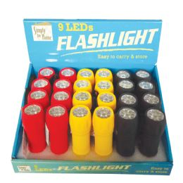 48 of Rubber Flashlight 4 Iinches 9 Led Assorted Colors In Display