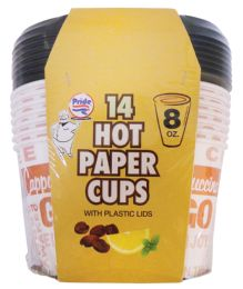 36 of Pride Hot Paper Cup 8 Ounces 14 Cups + 14 Lids