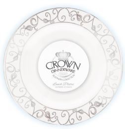 12 of Crown Dinnerware Dinner Plate 9 Inch 10 Pack Platinum Collection