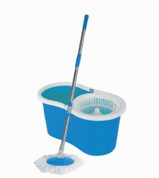 6 of Spin Mop 47 Inch With Bucket 18 X 10 X 9 Inches + 1 Refill Blue