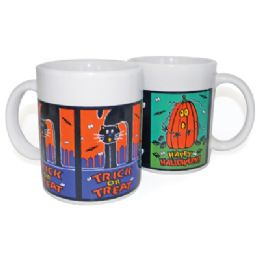 12 of Halloween Mugs Ceramic 10.5 Oz Assorted Designs