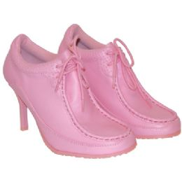 18 of Ladies Funky High Heel Sneaker Shoes Sizes 5 - 11 Pink With Detailed Stitching. Boxed