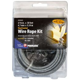 24 of Wire Rope Kit With 6 Cable Clamps 3/16 In X 30 ft