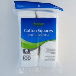 24 of Cotton Squares 100ct 100% Cotton Resealable Poly Bag