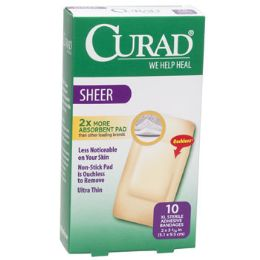 24 of Bandages Curad Sheer Xl 10ct 2 X 4 Strips Boxed