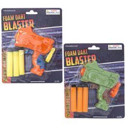 24 of Foam Dart Blaster Toy 2ast Colors W/3 Foam Darts Blister